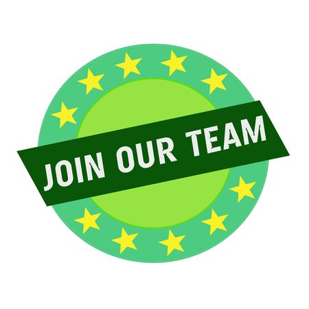 join our team: Join our team white wording on green Rectangle and Circle green stars