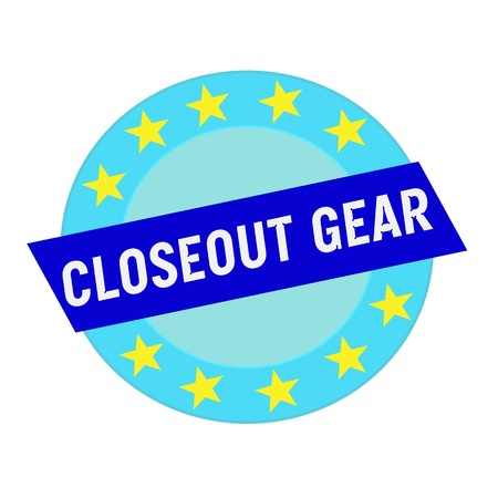 closeout: closeout gear white wording on blue Rectangle and Circle blue stars
