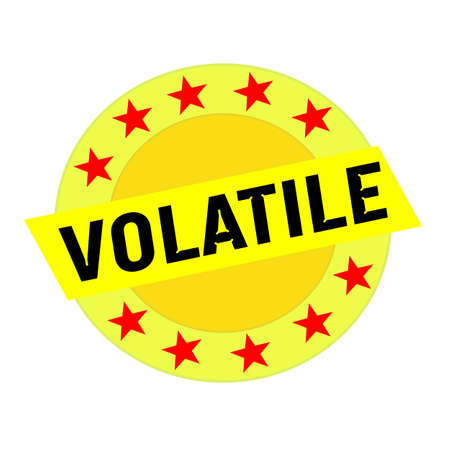 volatile: VOLATILE black wording on yellow Rectangle and Circle yellow stars