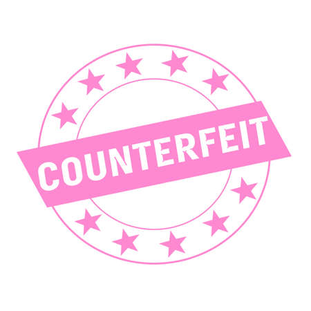counterfeit: COUNTERFEIT white wording on pink Rectangle and Circle pink stars