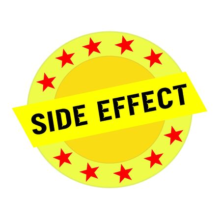 side effect: Side effect  black wording on yellow Rectangle and Circle yellow stars