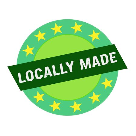 locally: Locally made white wording on green Rectangle and Circle green stars
