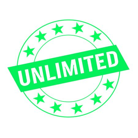 unlimited: unlimited white wording on green Rectangle and Circle green stars Stock Photo