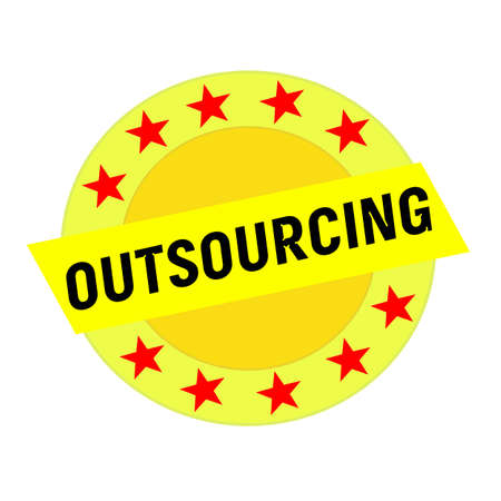 outsourcing: OUTSOURCING black wording on yellow Rectangle and Circle yellow stars