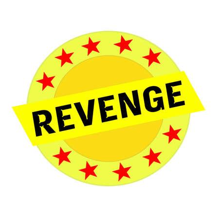 venganza: VENGANZA texto negro sobre rectángulo amarillo y Círculo de estrellas amarillas