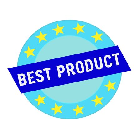 best product: best product white wording on blue Rectangle and Circle blue stars