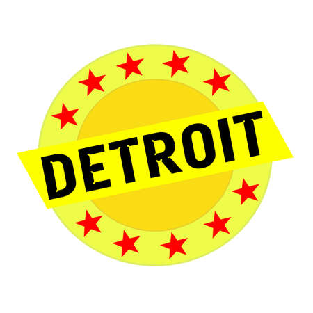 detroit: DETROIT black wording on yellow Rectangle and Circle yellow stars Stock Photo
