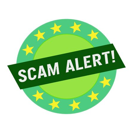 green stars: SCAM ALERT white wording on green Rectangle and Circle green stars Stock Photo