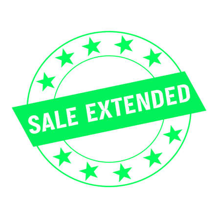 green stars: sale extended white wording on green Rectangle and Circle green stars