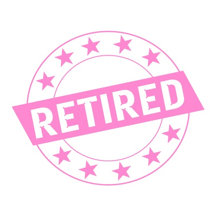 retired: Retired white wording on pink Rectangle and Circle pink stars Stock Photo