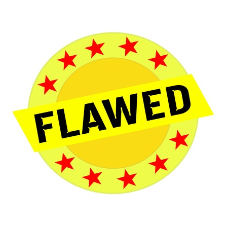 flawed: FLAWED black wording on yellow Rectangle and Circle yellow stars