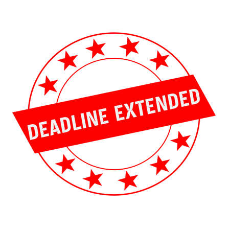 DEADLINE EXTENDED white wording on red Rectangle and Circle red stars Stock Photo