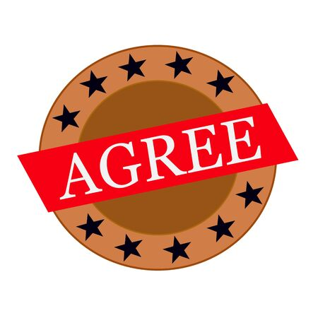 agree: De acuerdo texto blanco sobre rojo rectángulo y círculo de estrellas de color marrón