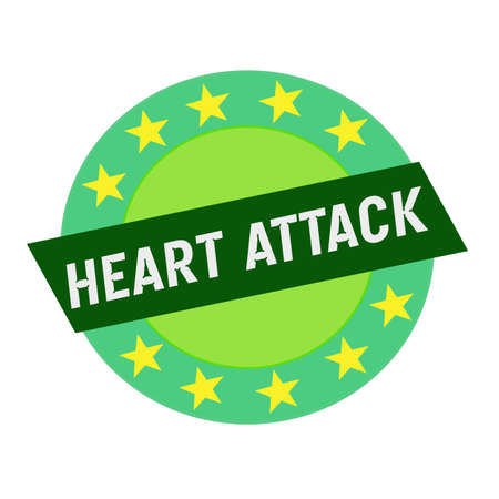 heart attack: Heart Attack white wording on green Rectangle and Circle green stars Stock Photo