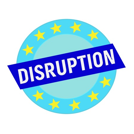 disruption: disruption white wording on blue Rectangle and Circle blue stars Stock Photo