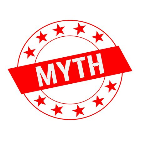 myth: MYTH white wording on red Rectangle and Circle red stars Stock Photo