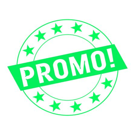 green stars: promo white wording on green Rectangle and Circle green stars