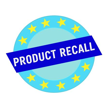 recall: product recall white wording on blue Rectangle and Circle blue stars