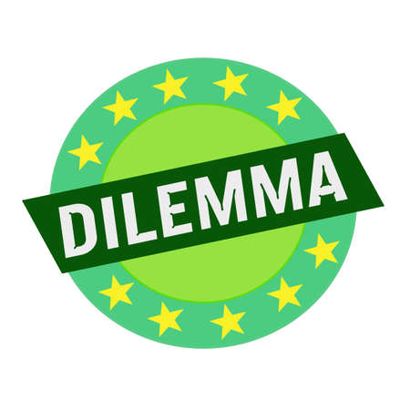 dilemma: DILEMMA white wording on green Rectangle and Circle green stars Stock Photo