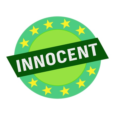 innocent: INNOCENT white wording on green Rectangle and Circle green stars