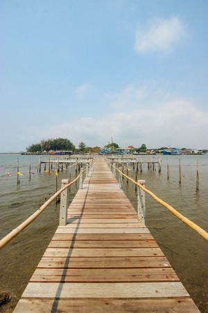 rayong: Boardwalk in Sea Rayong in Rayong Thailand Stock Photo