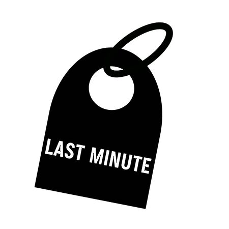 key chain: Last minute white wording on background black key chain Stock Photo