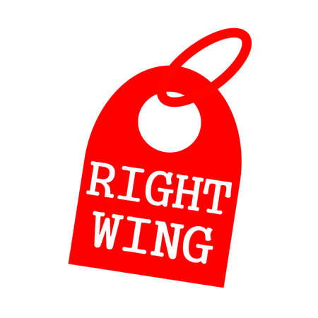 key chain: RIGHT WING white wording on background red key chain Stock Photo