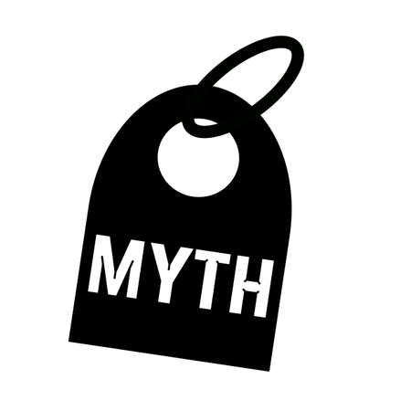 myth: MYTH white wording on background black key chain Stock Photo