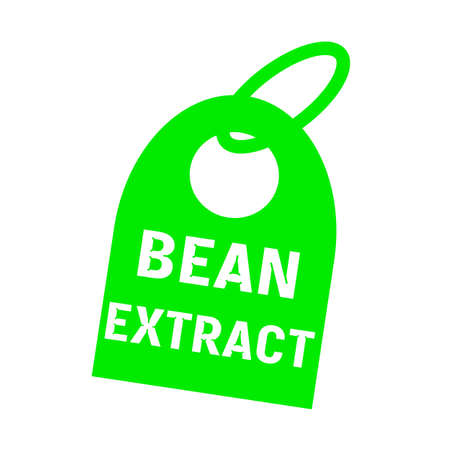 key chain: bean extract white wording on background green key chain