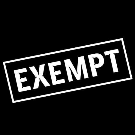 exempt: EXEMPT white wording on rectangle black background