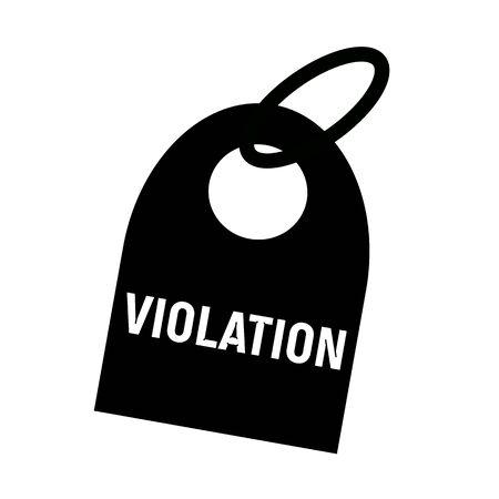 violation: VIOLACIÓn texto blanco sobre fondo negro llavero Foto de archivo