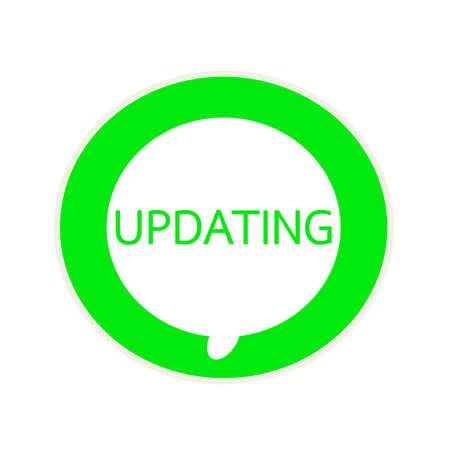 updating: Updating green wording on Circular white speech bubble