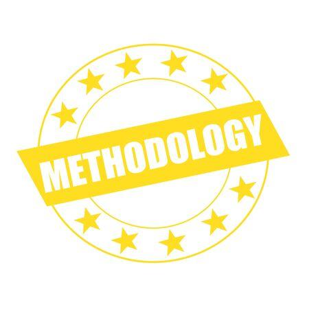 methodology: METHODOLOGY white wording on yellow Rectangle and Circle yellow stars Stock Photo