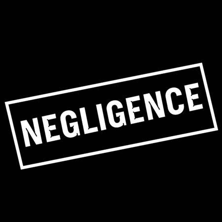 negligence: NEGLIGENCE white wording on rectangle black background Stock Photo