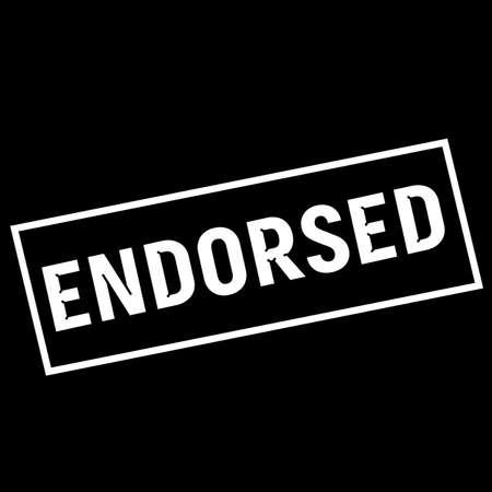 endorsed: ENDORSED white wording on rectangle black background Stock Photo