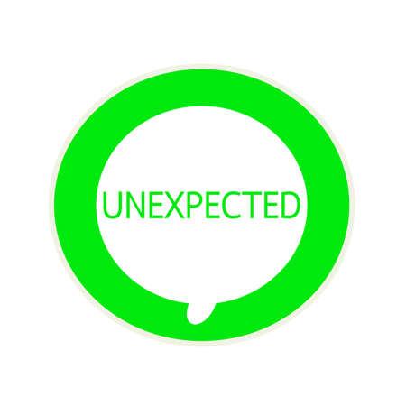 unexpected: Unexpected green wording on Circular white speech bubble