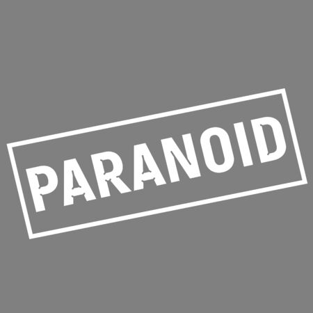 paranoid: PARANOID white wording on rectangle gray background