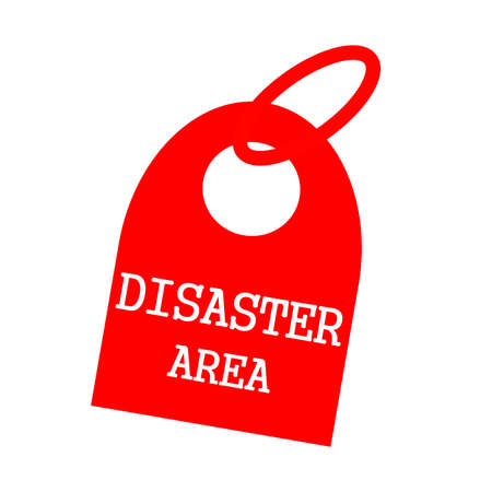 key chain: DISASTER AREA white wording on background red key chain
