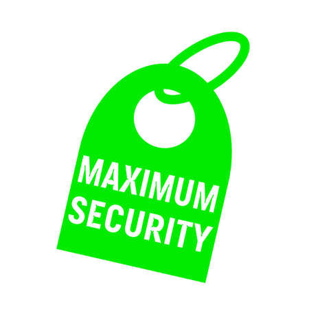 key chain: maximum security white wording on background green key chain Stock Photo