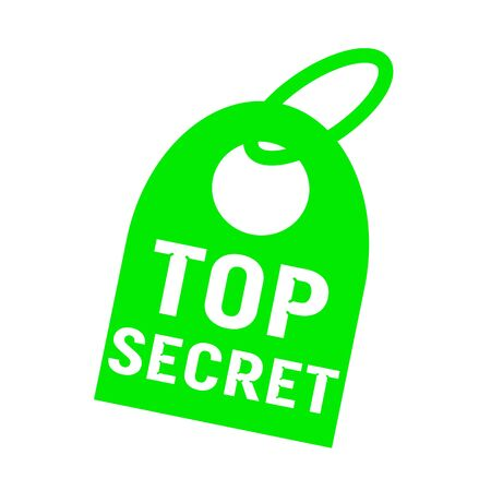 key chain: top secret white wording on background green key chain