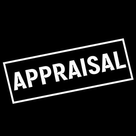 appraisal: APPRAISAL white wording on rectangle black background Stock Photo