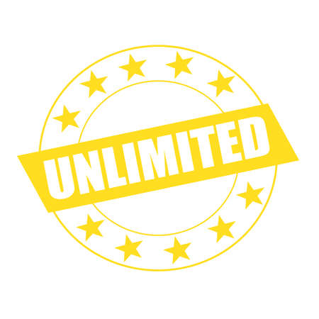 unlimited: unlimited white wording on yellow Rectangle and Circle yellow stars Stock Photo
