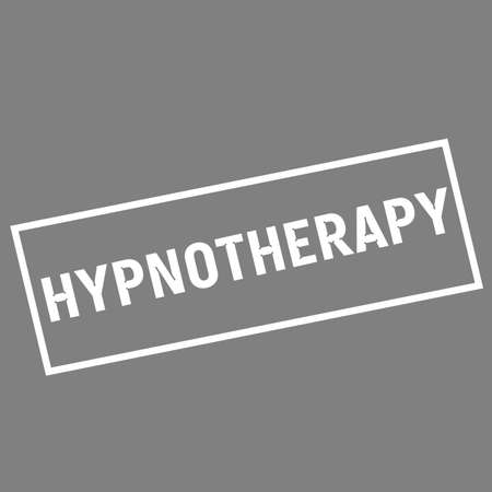 hypnotherapy: HYPNOTHERAPY white wording on rectangle gray background Stock Photo
