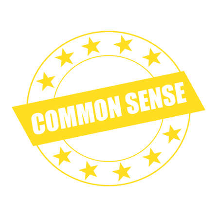 a sense of: COMMON SENSE white wording on yellow Rectangle and Circle yellow stars