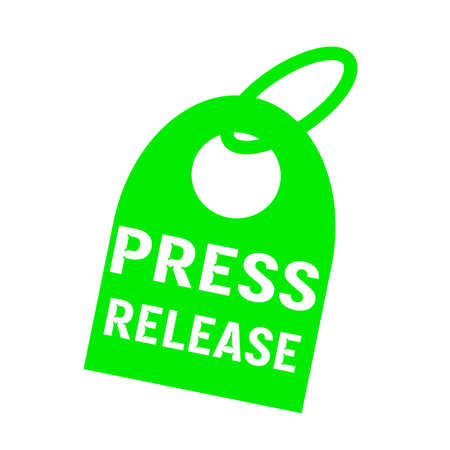 press release: press release white wording on background green key chain