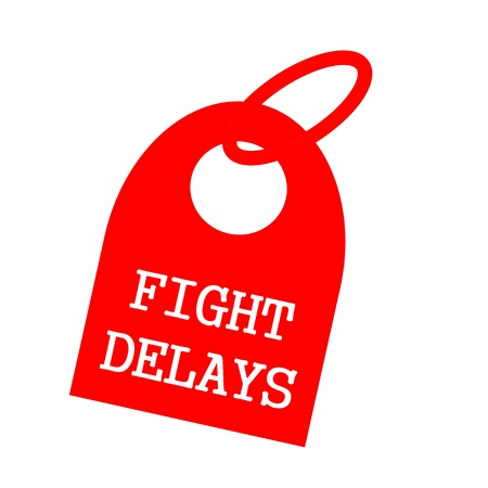 delays: Fight delays white wording on background red key chain