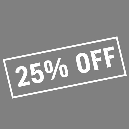 off white: 25% OFF white wording on rectangle gray background