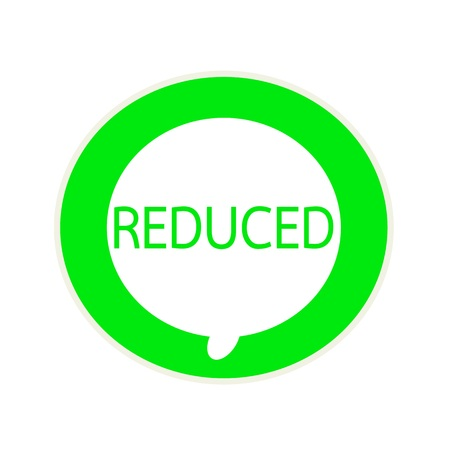 reduced: Reduced green wording on Circular white speech bubble