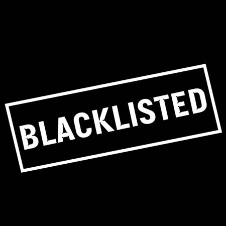 wording: BLACKLISTED white wording on rectangle black background Stock Photo