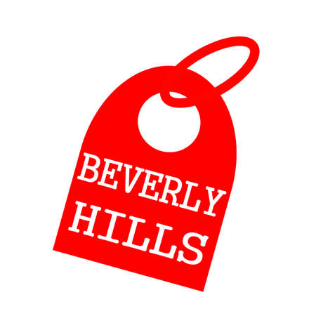 key chain: Beverly Hills white wording on background red key chain
